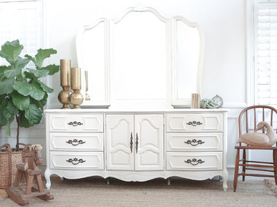 Shabby Chic Vintage French provincial Dresser / Credenza with Mirror 9 drawers No198 - ShopGoldenPineapple