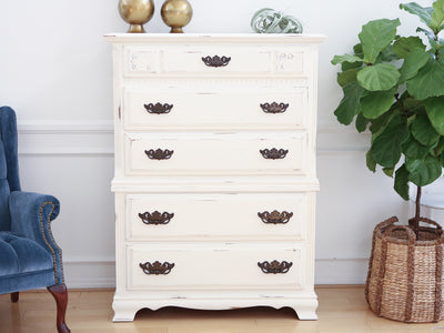 Vintage Shabby Chic Dresser / HighBoy / Tall Dresser in White Distress 119 - ShopGoldenPineapple