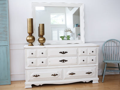 Shabby Chic French Provincial Vintage Dresser / Buffet Cabinet / Credenza with Mirror No122 - ShopGoldenPineapple