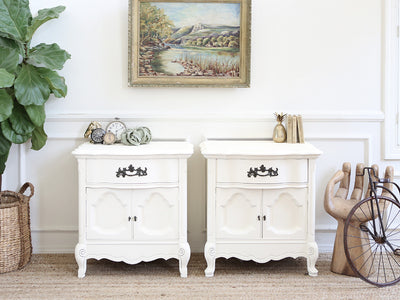 Shabby Chic French Provincial Vintage NightStands Set of Two No202 - ShopGoldenPineapple