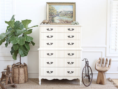 Shabby Chic French Provincial Vintage HighBoy / Tall Dresser No206 - ShopGoldenPineapple