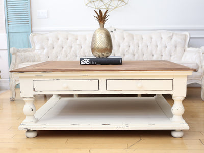 Shabby Chic Vintage Coffee Table with Wooden Top and Drawers No125 - ShopGoldenPineapple