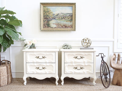 Boho Chic Vintage White NightStands / Side Tables / End Tables Set of Two No211 - ShopGoldenPineapple