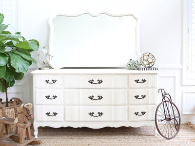 Shabby Chic French Provincial Vintage Dresser / Buffet Cabinet / Credenza with Mirror No215 - ShopGoldenPineapple