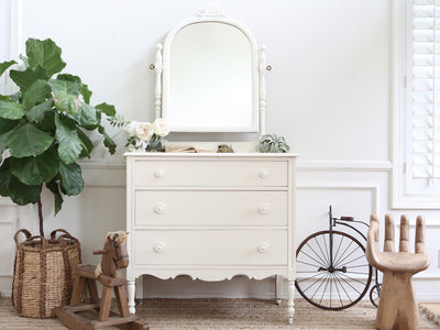Shabby Chic Antique Dresser / Vanity Dresser with Mirror No217 - ShopGoldenPineapple