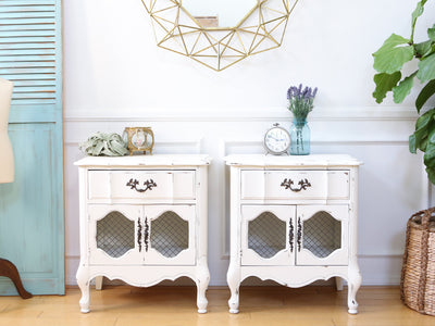 Shabby Chic Vintage White NightStands / Side Tables / End Tables Set of Two No140 - ShopGoldenPineapple