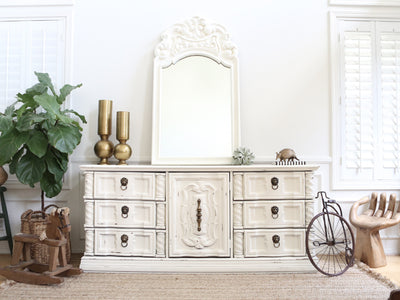 Shabby Chic Vintage Dresser / Buffet Cabinet / Credenza with Mirror 220 - ShopGoldenPineapple
