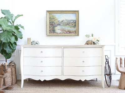 Shabby Chic Crystal Knobs Dresser / Buffet Cabinet / Credenza  No223 - ShopGoldenPineapple