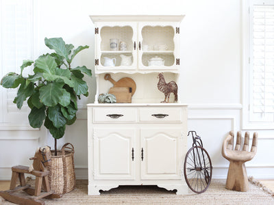 Vintage Shabby Chic Farm House Hutch / Cabinet / China Hutch 224 - ShopGoldenPineapple