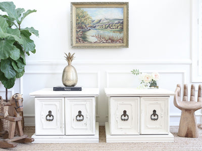 Vintage Boho Chic NightStands / Side Tables / End Tables Set of Two No227 - ShopGoldenPineapple