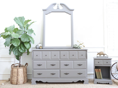 Set of Three Vintage Gray Dresser / Credenza with Mirror & Night Stand Set  No228 - ShopGoldenPineapple