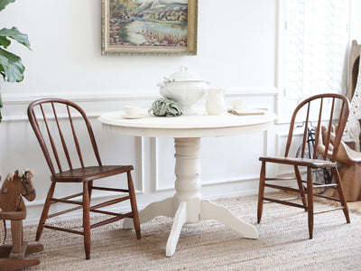 Shabby Chic Vintage Solid Wood Dining Round Table with 3 chairs 231 - ShopGoldenPineapple