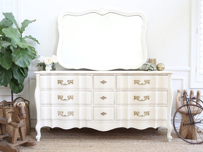 Shabby Chic French Provincial Vintage Dresser / Buffet Cabinet / Credenza  with Mirror No232 - ShopGoldenPineapple
