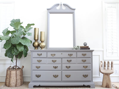 Vintage Gray Dresser / Credenza with Mirror No237 - ShopGoldenPineapple