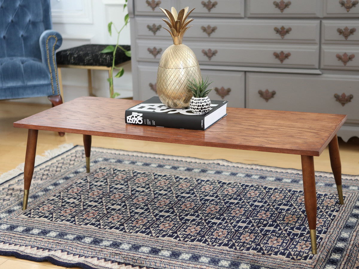 Vintage Mid Century Modern Coffee Table With Brass Legs From