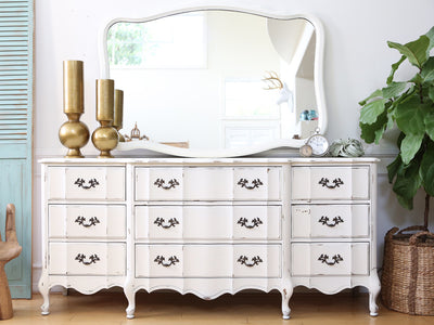 Shabby Chic French Provincial Vintage Dresser / Buffet Cabinet / Credenza with Mirror No85 - ShopGoldenPineapple