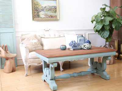 Shabby Chic Vintage Beach House Solid Wood Coffee Table in Teal No241 - ShopGoldenPineapple