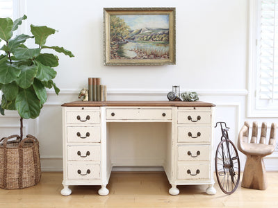Vintage Shabby Chic Solid Wood Writing Desk White No247 - ShopGoldenPineapple