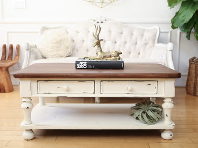 Shabby Chic Vintage Coffee Table with Wooden Top and Drawers No110 - ShopGoldenPineapple