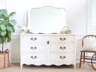 Vintage Shabby Chic Vintage Dresser / Credenza 6 drawers with Mirror 260 - ShopGoldenPineapple