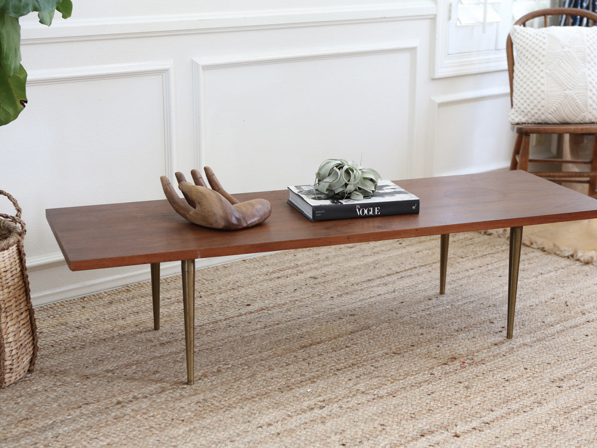 Mid Century Modern Coffee Table With Brass Legs No 261