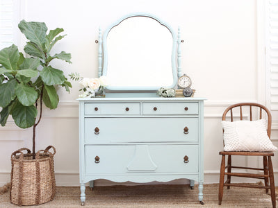 Shabby Chic Antique Dresser / Vanity Dresser with Mirror No275 - ShopGoldenPineapple