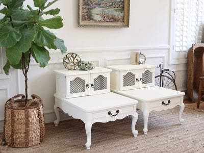 Shabby Chic Vintage White NightStands / Side Tables / End Tables Set of Two 283 - ShopGoldenPineapple
