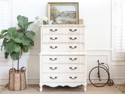 Thomasville Shabby Chic French Provincial Vintage HighBoy Tall Dresser 295 - ShopGoldenPineapple