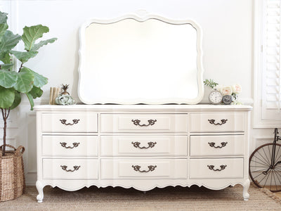 Thomasville Shabby Chic French Provincial Vintage Dresser / Buffet Cabinet / Credenza with Mirror 296 - ShopGoldenPineapple
