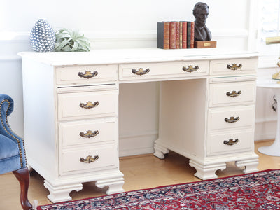 Shabby Chic Vintage Writing Desk / Computer Desk in White No58 - ShopGoldenPineapple