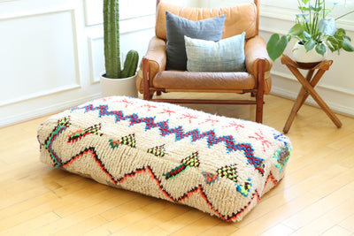 Double Moroccan Floor Pillow Pouf No LP4 - ShopGoldenPineapple
