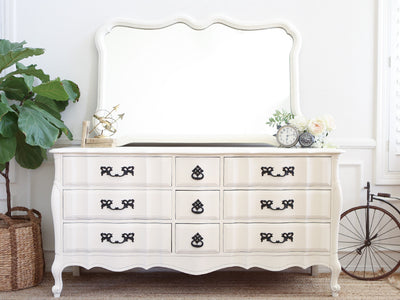 Shabby Chic French Provincial Vintage Dresser / Buffet Cabinet / Credenza  with Mirror No301 - ShopGoldenPineapple