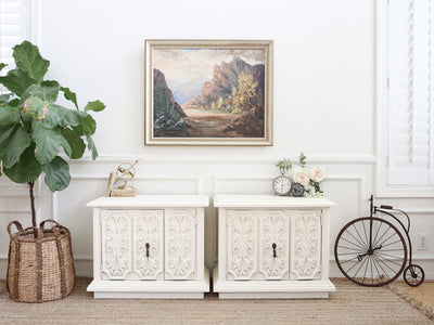 Vintage Boho Chic NightStands Set of Two in White 304 - ShopGoldenPineapple
