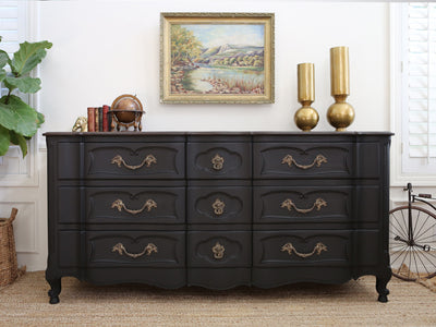 Stamped RW Vintage Black Dresser with Wooden Top 313 - ShopGoldenPineapple