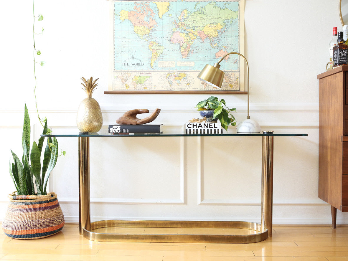 Pace Collection Glass Console Sofa Table Brass Base Nice Patina Mid C Shopgoldenpineapple