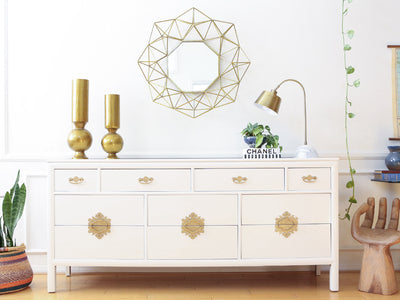 S.C. Coleman Vintage White Dresser with Gold Handles No321 - ShopGoldenPineapple