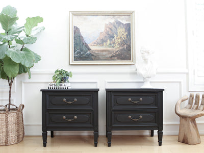 Shabby Chic Black Vintage NightStands Set of Two No333 - ShopGoldenPineapple