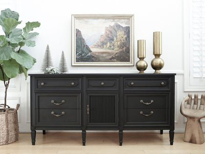 Brand name: Unagusta Manufacturing Corp Vintage Modern Shabby Chic Black Dresser No334 - ShopGoldenPineapple