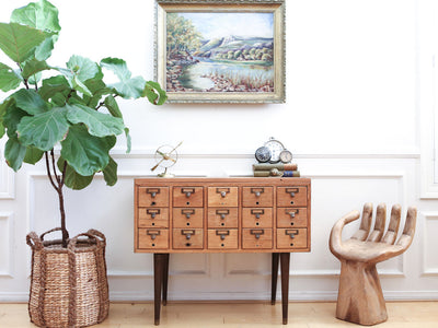 Mid Century Modern Style Vintage Card Catalog Buffet Sideboard / Credenza No 341 - ShopGoldenPineapple