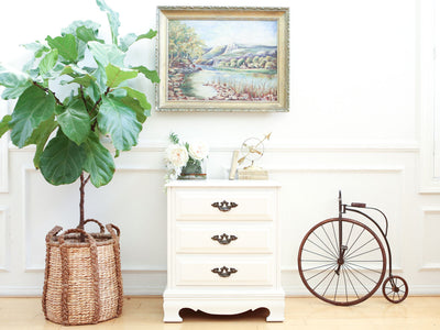 Shabby Chic Vintage White Single NightStand / Side Table / End Table No343 - ShopGoldenPineapple