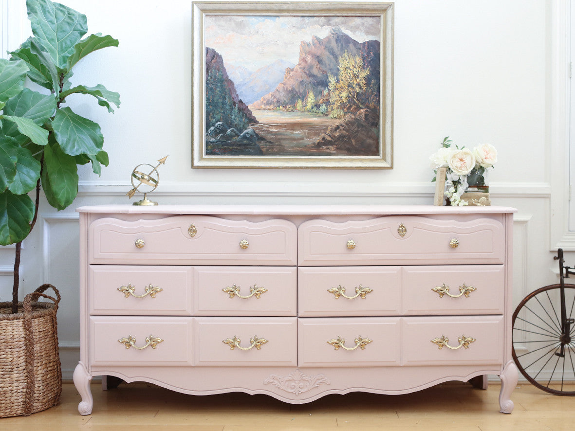 Vintage Shabby Chic Dresser / Credenza with 6 drawers in Baby Pink No345 -  ShopGoldenPineapple - Vintage Shabby Chic Dresser / Credenza With 6 Drawers In Baby Pink