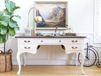 Shabby Chic Vintage Executive Desk / Writing Desk with Wooden Top No 347 - ShopGoldenPineapple