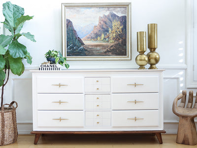 Mid Century Modern White Lacquer Vintage Dresser with wooden feet / Buffet Cabinet / Credenza No 348 - ShopGoldenPineapple