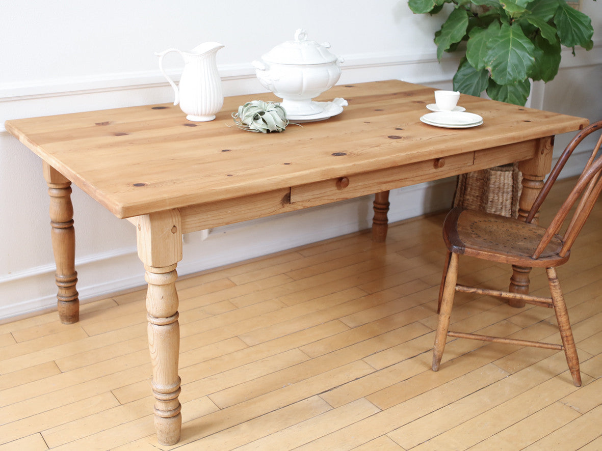 Vintage FarmHouse Solid Wood Dining Table with Drawer Shabby Chic Desk No  351