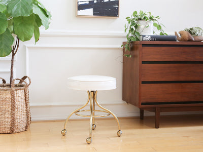 Hollywood Regency Brass Stool with Caster No 371 - ShopGoldenPineapple