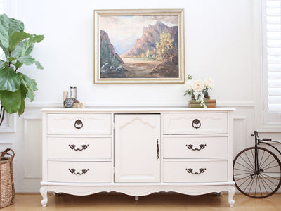 Shabby Chic French Provincial Vintage Dresser / Buffet Cabinet / Credenza No 373 - ShopGoldenPineapple