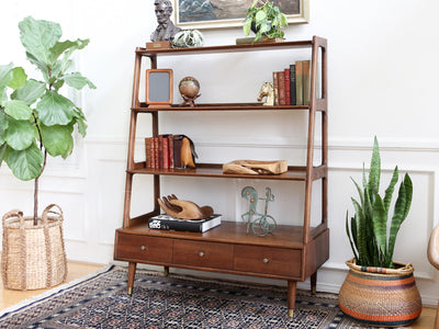 Mid Century Modern Walnut & Ash bookShelf Wall Unit, Bookcase, Room Divider by Saginaw No 380 - ShopGoldenPineapple