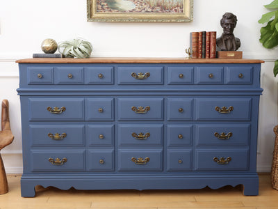 Vintage Shabby Chic Dresser with Wooden Top in Classic Blue No106 - ShopGoldenPineapple