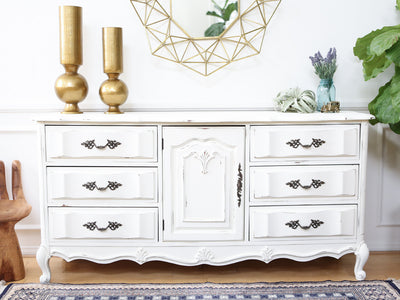 Shabby Chic French Provincial Vintage Dresser / Buffet Cabinet / Credenza No57 - ShopGoldenPineapple