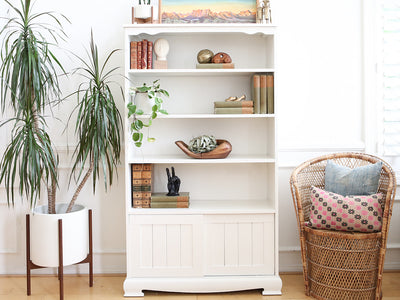 Shabby Chic Vintage Book Shelf with Slid Door in White No 536 - ShopGoldenPineapple
